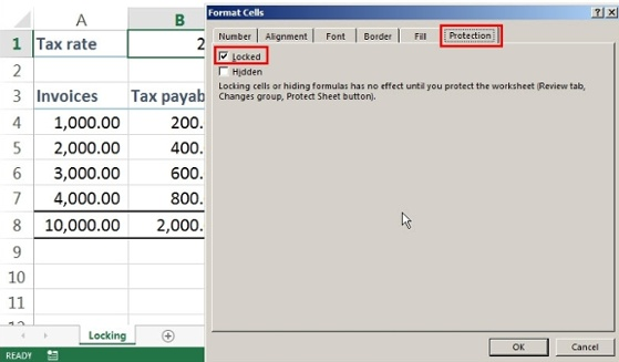 lock cells in excel